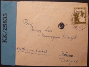 1945 WWII/Holocaust Palestine Mandate cover MAABAROT to Turkey, censored twice