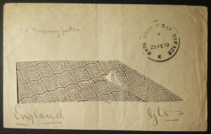 1919 WWI Egypt stampless British military cover from BAPO K (KANTARA) to UK