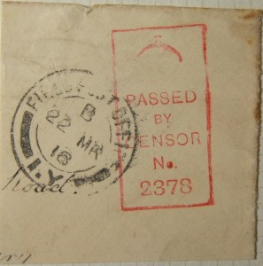 22 MR 1918 BEF British WWI military mail cutout of unrecorded FPO 97/1Y postmark