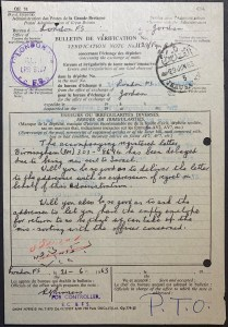1962 British Bulletin de Verification to Jordan re delivery Israeli-refused mail